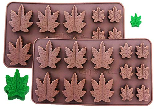 Set of 2 X Silicone Marijuana Lollipop Gummy Brownies Hrad Candy Cannabis Weed Edible Leaf Mold Ice Cube Chocolate Soap Candle Tray Party Maker (Brown Marijuana (2 Pack))