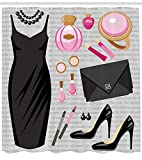 GONIESA Heels and Dresses Shower Curtain, Black Smart Cocktail Dress Perfume Make up Clutch Bag, Fabric Bathroom Decor Set with Hooks, 60 * 72inch Extra Wide, Black Pale Pink Pale Brown
