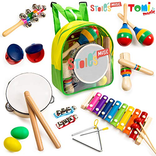 Tomi Music - 18 Piece Musical Instrument Set for Toddlers, Preschool Children & Kids– Wooden Percussion Toys and Rhythm Instruments - Xylophone, Drum - Promotes Early Development - Backpack Included