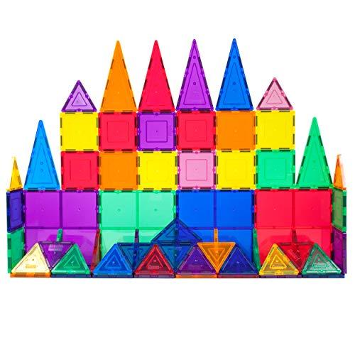 PicassoTiles 60 Piece Set 60pcs Magnet Building Tiles Clear Magnetic 3D Building Blocks