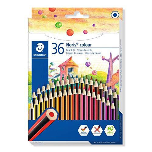 STAEDTLER 185 CD36 Noris Colour Buntstift (erhöhte Bruchfestigkeit, Sechskantform, attraktives Streifendesign, ergonomische Softoberfläche, Wopex Material, Set mit 18 brillanten Farben im Kartonetui)