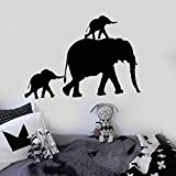 YuanMinglu Familia de Elefantes Tatuajes de Pared Animal Lindo Etiqueta de la Pared Habitación Infantil para niños DIY Animal Decorativo Arte Mural Negro 84x116 cm