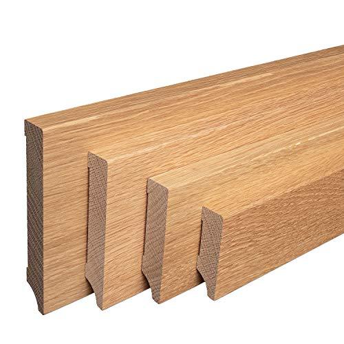 Sockelleisten aus Massivholz Eiche geölt Weimarer Profil Modern [SPARPAKET] (80mm Höhe, 5 Stück / 11,5lfm)