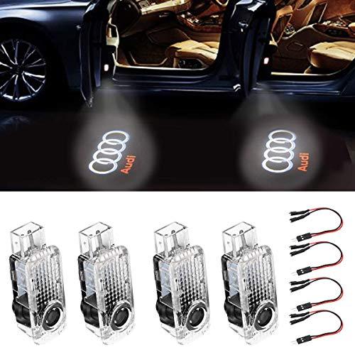 Autotür Licht 4 Stück Türbeleuchtung Autotür Dekorative Eintrag Logo Projektor Lichter für A6L A4 A1 A5 A6 A4L A8 A3 R8 Q5 Q7 TT A8L A7 A6L Auto LED Projektor Willkommen Licht 4 Stück