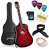 Ashthorpe 38-inch Beginner Acoustic Guitar Package (Red), Basic Starter Kit w/Gig Bag, Strings, Strap, Tuner, Pitch Pipe, Picks