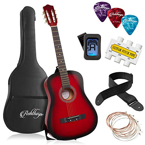 Ashthorpe 38-inch Beginner Acoustic Guitar Package (Red), Kids Basic Starter Kit w/Gig Bag, Strings, Strap, Tuner, Pitch Pipe, Picks