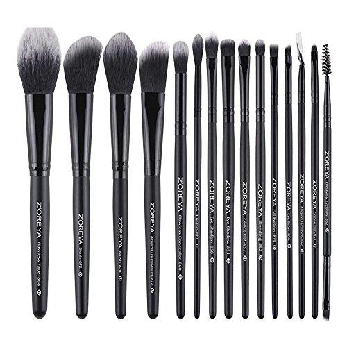 Make-up borstels Kit: 15 stuks Professionele cosmetische borstels Kit met grijze zak, zwarte kunstvezel, zwart houten handvat
