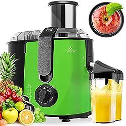 KESSER® Entsafter für Obst und Gemüse aus Edelstahl 1100W große 85 mm Einfüllöffnung inkl. Reinigungsbürste und Saftbehälter 3 Geschwindigkeitsstufen, Saftpresse Juicer (Grün)