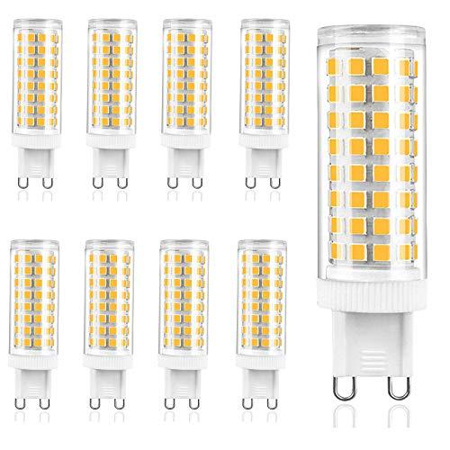 ZJYX Bombilla LED G9 10W, Sin Estroboscópico, LED Equivalente a la Bombilla Halógena de 100W, 1000LM, AC100-240V, No Regulable, Ángulo de Luz de 360°, Pack de 9,Cool White 6000k