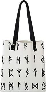 Women's Soft PU leather Tote Shoulder Bag, Hand-Sketched Grungy Runic Alphabet Futhark Scandinavian and Germanic Letters,Big Capacity Handbag Hobo bag, Satchel Purse