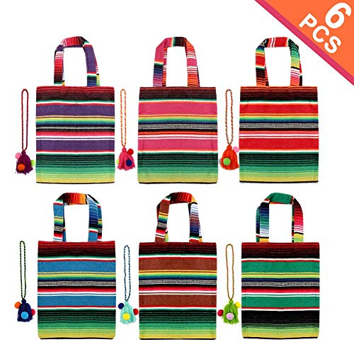 Aytai 6Pcs Mini Mexican Tote Favor Bags, Handwoven Mexican Bags with Colorful Hanging Tassels for Mexican Party Decorations, Fiesta Party Supplies