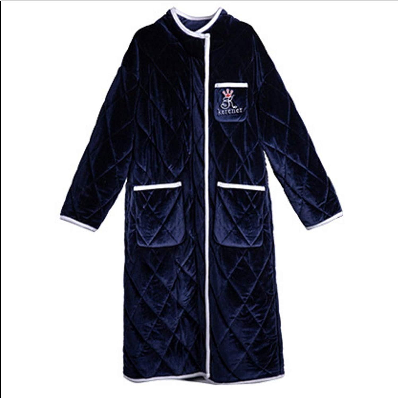 NAN Liang Zip Robe 100% Cotton Bathrobe Ultra Soft Luxurious Bath Robe Thick Homewear Nightwear (Male Female) (color   B, Size   L)