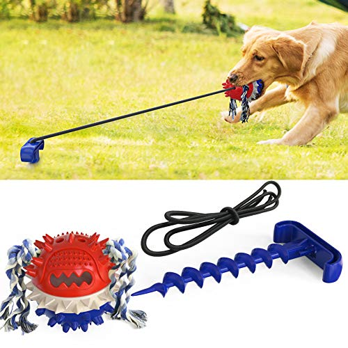 ARZAREL Interactive Dog Chew Toy Tough Teething Dog Squeaky Toy Ball with Teeth Cleaning and Food Distribution Function Suitable for Dog Toy with Aggressive Chewing Function