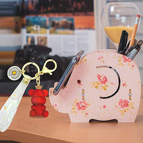 Desk Supplies OrganizerRoiroiko Wooden Cute Elephant Pencil Pen HolderMultiFunction Removable Pen Cup Office Accessories Desk Decoration with Storage Box Organizer for smartphone pink