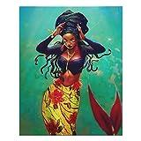 Impresión artística de pared con diseño de sirena africana americana en decoración de pared de mader...
