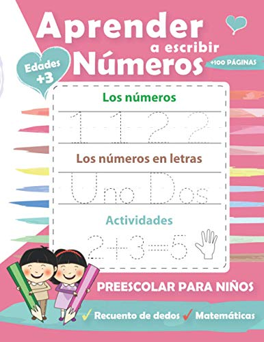 Aprender a escribir Números: Cuaderno educativo matemàticas para la escuela primaria - Ejercicios de escritura - números y cuentas... actividades de educación infantil (3 a 5 años)