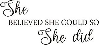 KYSUN She Believed SHE Could SO She did Vinyl Wall Decal Inspirational Quotes Lettering Faith Motto Art Letters Kid Girls Room Décor