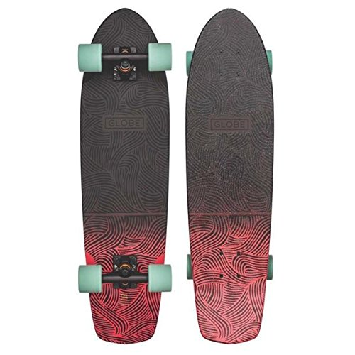 GLOBE Skateboards Tracer Classic Cruiser Complete Skateboard, Black/Salmon