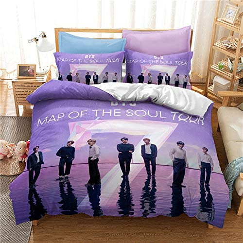 Mdsfe Popular BTS Printed Bedding Set Korean Artists Bangtan Boys Duvet Cover Set with Pillowcase Twin Full Queen King White, 135x200cm