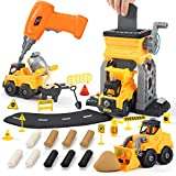 Construction Take Apart Trucks STEM Take Apart Toy with Electric Drill, Bulldozer, Dump Truck, Cement Truck, Learning Toys with 9 Modeling Clay, Gift for Boys Girls Toddlers Ages 3 4 5 6
