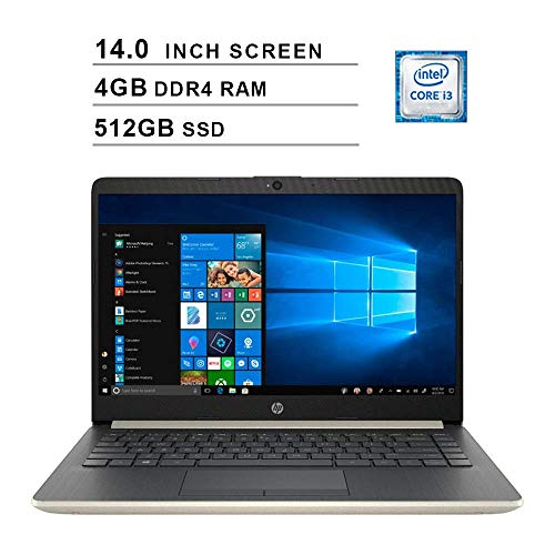 2020 Newest HP Premium 14 Inch Laptop (Intel Core i3-7100U, Dual Cores, 4GB DDR4 RAM, 512GB SSD, WiFi, Bluetooth, HDMI, Windows 10 Home) (Ash Silver) (Renewed)