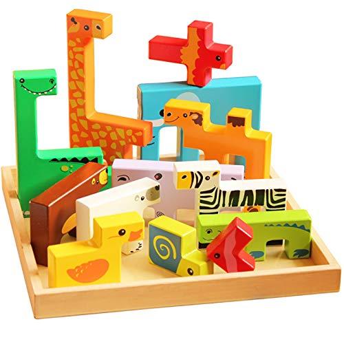 aolongwl Rompecabezas de los niños Juguetes de madera 3D Puzzle Animales Creativos Bloques de Construcción Niños Madera Jenga Juguete Educativo Para 1-4 Años Niño