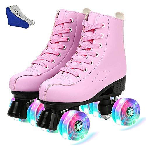 LLKK Las mujeres patinan los hombres de cuero de la parte superior alta patines de cuatro ruedas patines de ruedas niñas iluminan los patines para niños adultos interior al aire libre