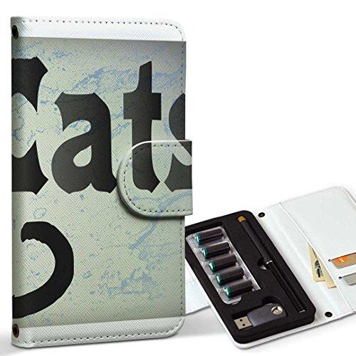 スマコレ ploom TECH プルームテック 専用 レザーケース 手帳型 タバコ ケース カバー 合皮 ケース カバー 収納 プルームケース デザイン 革 アニマル 猫 黒 ブラック インク ペンキ 008317