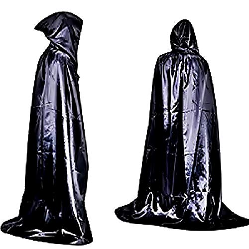KIRALOVE Capa de Disfraces - Vampiro - drcula - Halloween - Carnaval - crepsculo - Negro Brillante - translcido - Capucha - Adultos - Hombre - Talla nica - Idea de Regalo Original Twilight