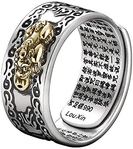 TOWELL Adjustable FENG Shui PIXIU MANI Mantra Protection Wealth Ring