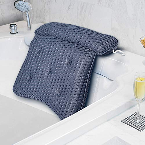 Tomight Bath Pillow,4D Air Mesh Luxury Bathtub Pillow with 7 Suction Cups, Support Head, Back, Shoulder and Neck, for All Bathtub, Hot Tub, Jacuzzi and Home Spa-Blue