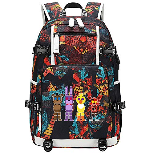 GOYING Five Nights at Freddy's Anime Laptop Backpack Bag Travel Laptop Daypacks Lightweight Bag with USB-F