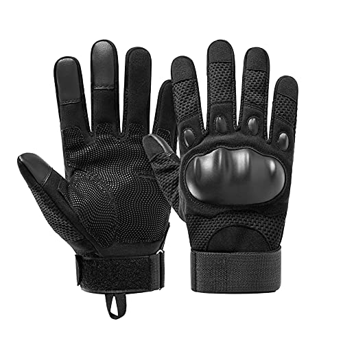 G-raphy Goma nudillo Duro Dedo Completo y Medio Dedo Guantes de Pantalla táctil para Motocicleta Ciclismo Caza Escalada Acampar (Negro, L)