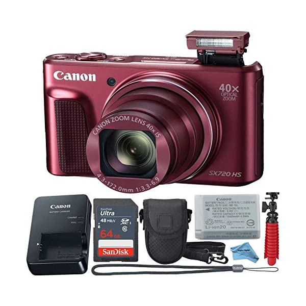 Canon Powershot SX720 (Red) Point & Shoot Digital Camera + Accessory Bundle...