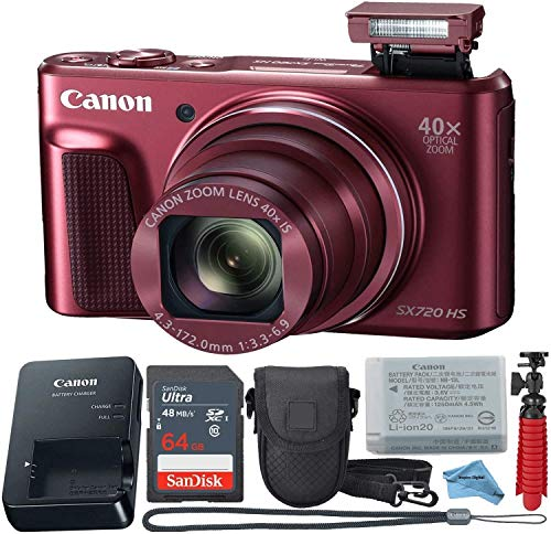 Canon Powershot SX720 (Red) Point & Shoot Digital Camera + Accessory Bundle + Inspire Digital Cloth