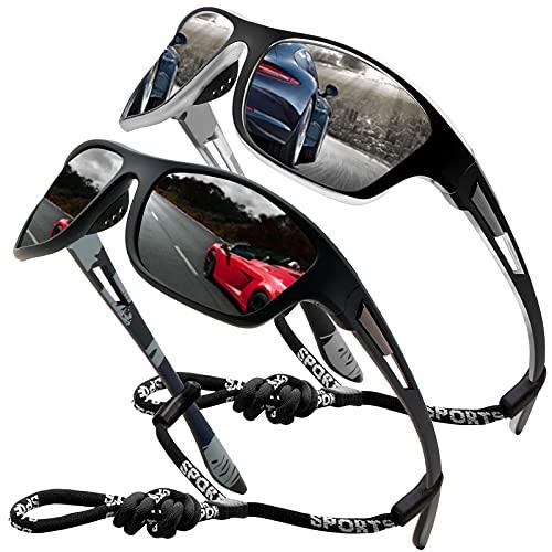 Perfectmiaoxuan Gafas de sol polarizadas para hombre mujer Golf de pesca fresco Ciclismo El golf Conducción Pescar Alpinismo Deportes al aire libre Gafas de sol (2 PACK (black silver))