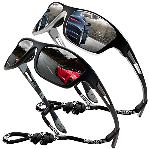 Perfectmiaoxuan Gafas de sol polarizadas para hombre mujer/Golf de pesca fresco Ciclismo El golf Conducción Pescar Alpinismo Deportes al aire libre Gafas de sol (2 PACK (black/silver))