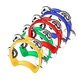 savita 4 pezzi tamburello percussione plastica mini mezza luna adulti tamburello jingle bell giocattoli musicali strumenti musicali ritmici ragazzi ragazze asilo feste riunioni famiglia (multi-colori)