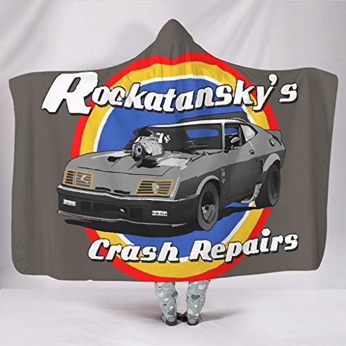 Dogedou Rockatansky\'s Crash Repairs Komfort Mikrofaser Plüsch Polyester Bedruckte Decken für alle Jahreszeiten, Polyester, weiß, 50x60 inch