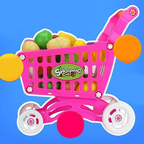 Kunststoff Supermarkt Spielzeug Warenkorb, mit Früchten Miniatur Essen Spielen Baby Frühen Pädagogisches Spielzeug rosa
