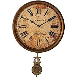 """Howard Miller J.H. Gould and Co. III Wall Clock 620-441 – 15"""" Antique Brass Pendulum with Auto Daylight Savings Time and Quartz Movement"""