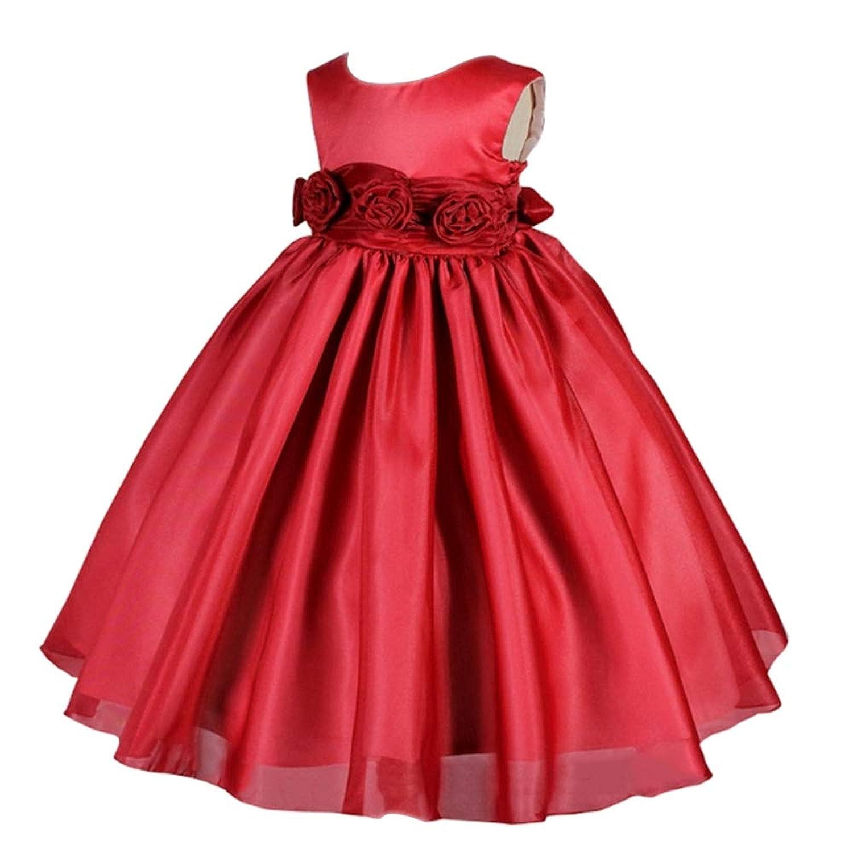 KINDOYO ガールドレス - 花 ちょう結び ノースリーブ パーティードレス 女の子のための完璧な誕生日プレゼント