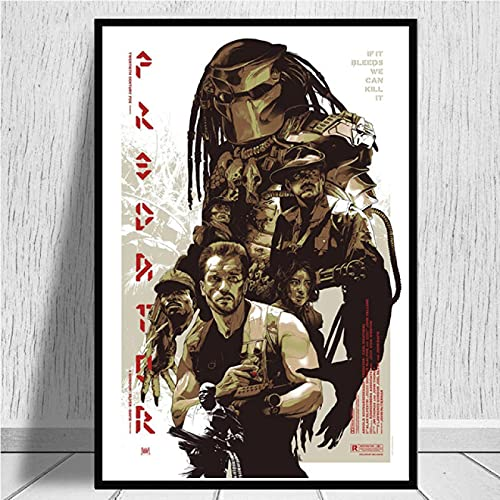 lubenwei Leinwand Malerei Poster und Drucke Arnold Schwarzenegger The Predator Monster Horrorfilm Kunst Leinwand Wandbilder Home Decor (AP-1091) 50x70cm Kein Rahmen