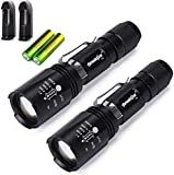 Skywolfeye 2 Pack 18650 Led Flashlight High 2000 Lumen 5 Mode Light Zoomable with 2Pcs 5000mAh 3.7v Batteries+2 Charger, Water Resistant Handheld Light for Camping Hiking Outdoor, Everyday Flashlights