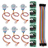 6 PCS 28BYJ-48 ULN2003 5V Stepper Motor + ULN2003 Driver Board for Arduino