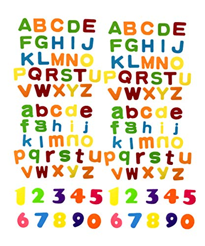 Zhiheng 124pcs Colorful Fabric Felt Uppercase Alphabet Lowercase Alphabet Letters A-Z Applique KitsNumbers Non Woven Fabric Patches for DIY Craft Ornaments Scrapbooking Card Making