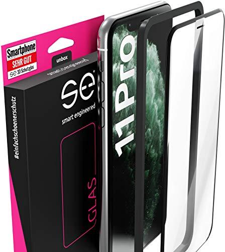 3D Schutzglas 9H Fullscreen [2 Stück] kompatibel mit iPhone 11 Pro [Panzerglas-Folie] Premium Glas-Schutz, Schablone-Installationshilfe, Hartglas, Hüllenfre&lich, volle Abdeckung, Transparent