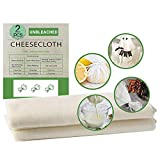Cheese Cloth 2 Pcs Muslin Cloths for Cooking Cheesecloth, 90x90CM and 50X50CM Reusable Ultra Fine Organic Cheesecloth, Unbleached Grade 90-100% Fine Cotton Reusable Fabric