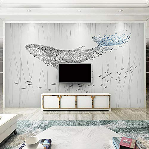 XQJBH Arte De Pared Autoadhesivo Mural 3D Patrón Creativo Geométrico De Pez Grande Extraíble Mural Cartel De Pared Personalizado Pared Arte Sofá Tv Fondo Decoración Del Hogar Oficina Dormit 350x256cm