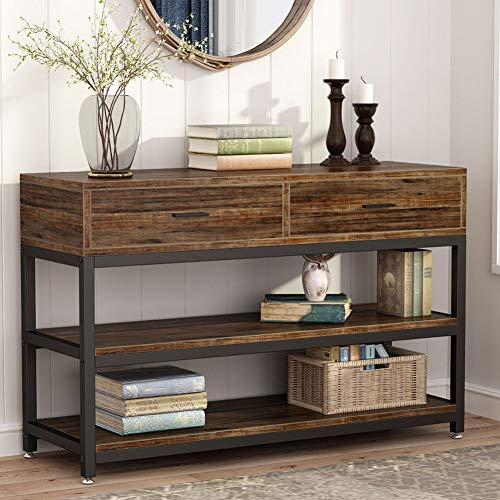 Tribesigns Rustic Console Sofa Table with Drawers, Industrial TV Stand 2 Shelf Hallway Entryway Table with Storage